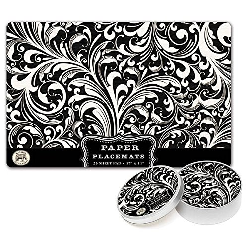 Michel Design Works 25 Count Florentine Paper Placemats, Black/White