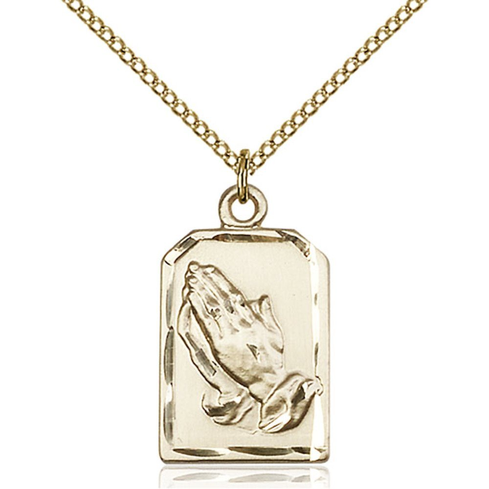 Gold Filled Praying Hands Pendant 7/8 x 1/2 inches with Gold Filled Lite Curb Chain