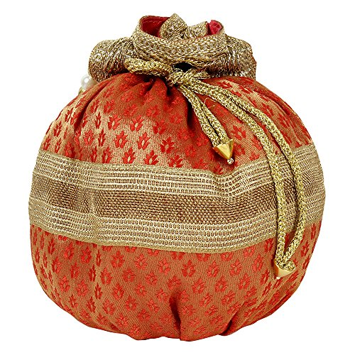 Traditional Indian Red Color Ethnic Collection Potli Pouch Women Embroidered Purse For Wedding Party Purse Hand XqaAwFx8