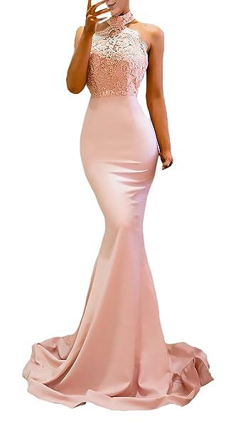 Vestiti Donna Cerimonia Lungo Smanicato Halter Tubino Abito da Sera Empire  Chic Ragazza Pink Classico Moda Giovane Estivi Slinky Dell Anca Pacchetto  Partito ... 023149aca61