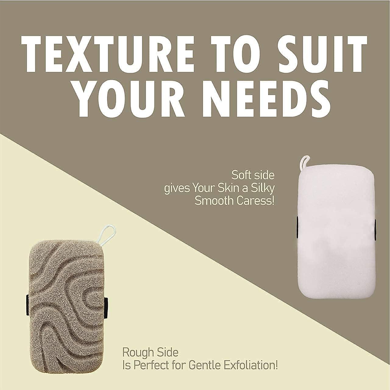 Luxury Mens Loofah Body Exfoliator   Loofah Sponge, Bath Sponge, Beauty Sponge Loofah for Women, 2 Sides, Dual Texture Shower Sponge for Mild Exfoliation and Gentle Cleansing - Body Sponge: Health & Personal Care