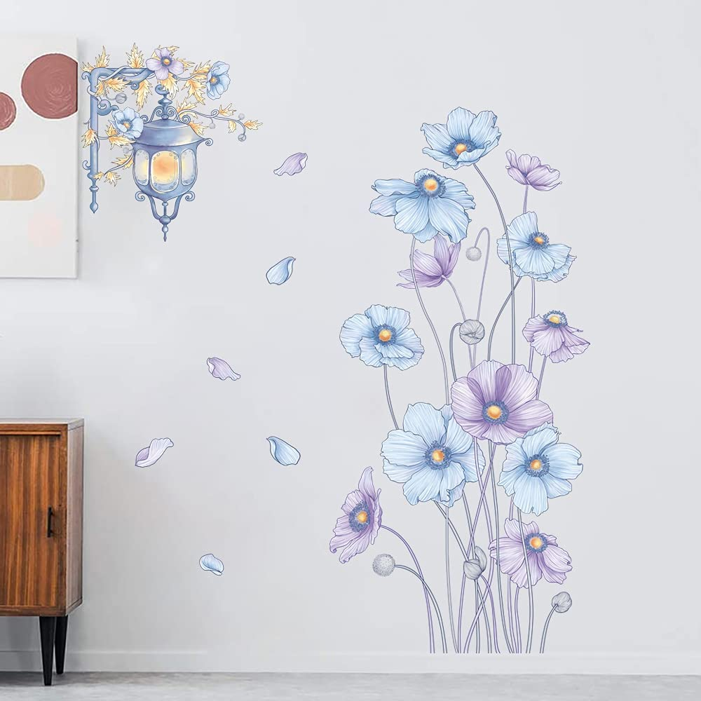 Supzone Flowers Wall Stickers Blue Purple Floral Wall Decals Garden Flower Daisy Wall Decal Street Lamp Bouquet Flower Wall Art Mural Sticker for Bedroom Living Room Office Home Wall Decor