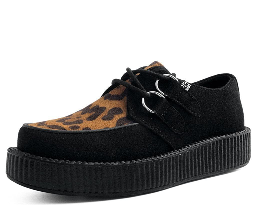 T.U.K. Shoes V9301 Unisex-Adult Vegan Creepers, Black Faux Suede & Leopard Creeper B074GF4GB8 13 B(M) US Women / 11 D(M) US Men