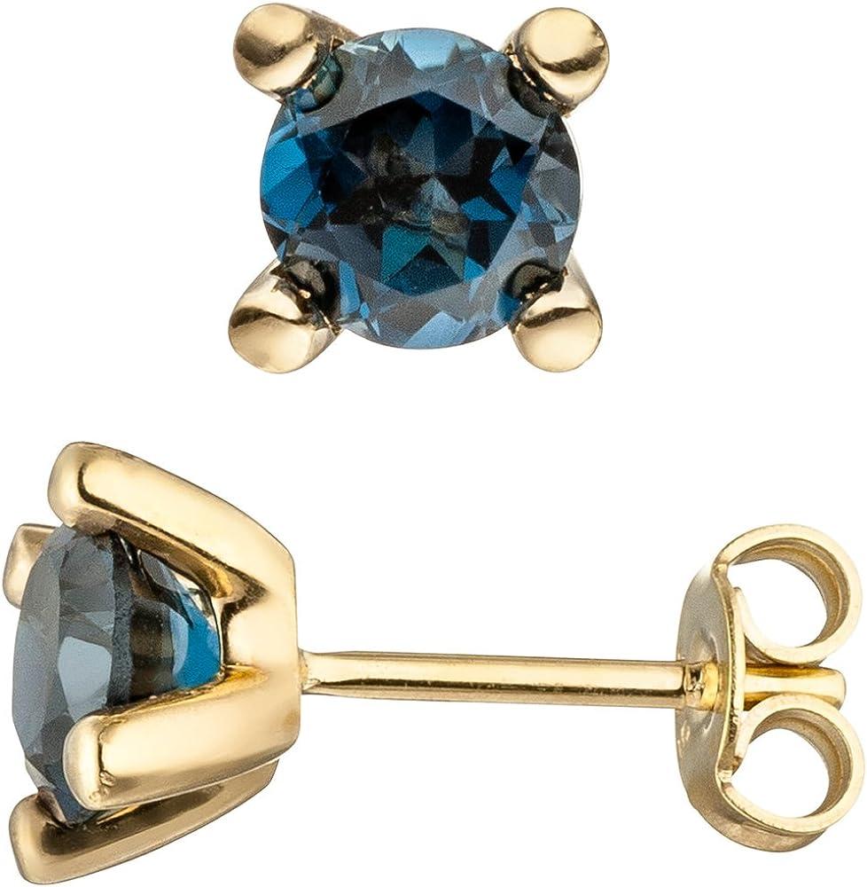 Jewels–Pendientes de Oído joyas con topacio azul azul London Blue 585oro amarillo