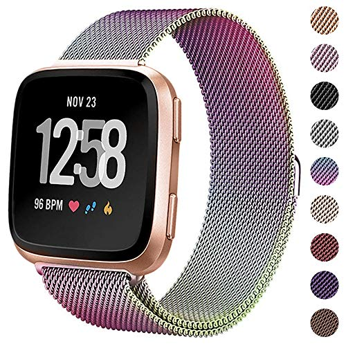 (CAVN Metal Bands Compatible for Fitbit Versa Bands/Versa Lite Edition Bands for Women Men, Replacement Stainless Steel Wristband Accessories Strap)