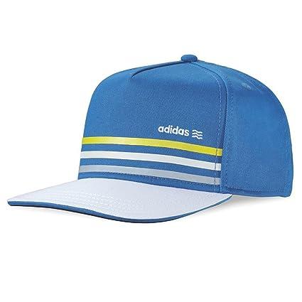 4e0f1dbd310 Adidas Blue Galaxy   Yellow Stripe Flat Bill Hat Fitted Baseball Cap UV  Protection 50+
