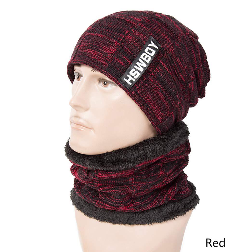 SANOMY Unisex Beanies Knit Hat,Warm Winter Hat Women Knitted Thick Hats Scarf Male Plus Velvet Skullies Beanies
