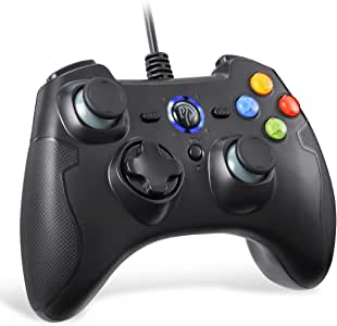 PC Controller Wired, EasySMX Wired USB Game Controller Joystick Dual-Vibration Turbo Trigger Buttons Windows/Android/ PS3/ TV Box(Black)