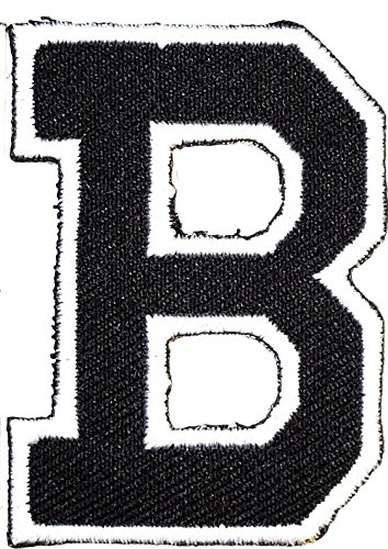 Black B letter Patch Symbol Jacket T-shirt Patch Sew Iron on Embroidered Sign Badge Costume. 1.6 x 2 inches.]()