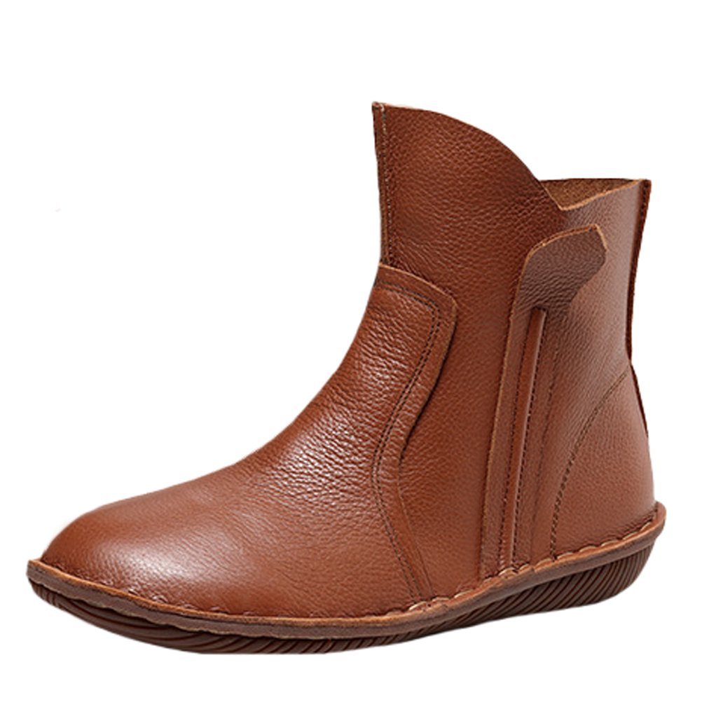 Mordenmiss Women's Leather Short Boots New Shoes Style 5 Brown