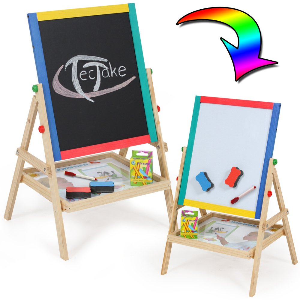 TecTake Pizarra infantil 2 en 1 pizarra para pintar pizarra magnética de madera con accesorios: Amazon.es: Juguetes y juegos