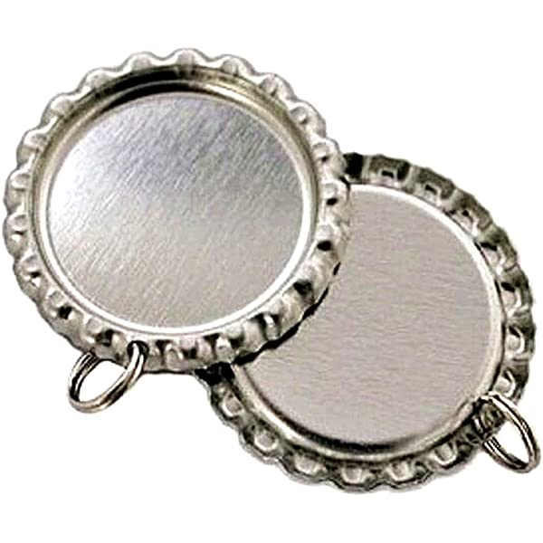8 mm Split Rings Attached Silver,100 PCS IGOGO Craft Bottle Cap with Holes Flat