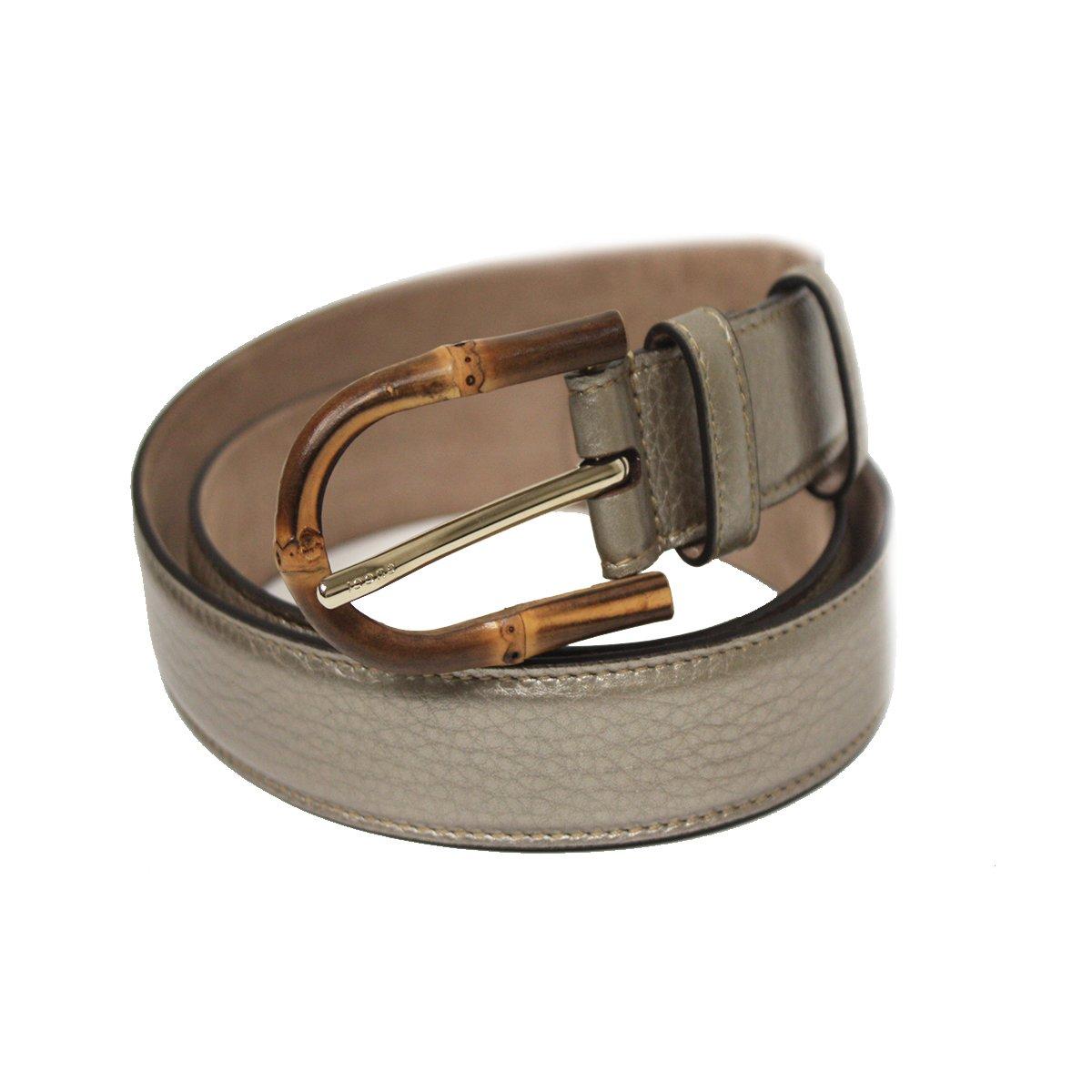 Gucci Women's Bamboo Buckle Leather Belt 322954 (90/36, Golden Beige)