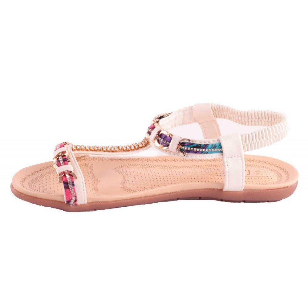 df93c6ab003 Sandale Blanche Strass Femme Grande Taille Pointure 41 à 44 avec chaîne doré    Motif Fantaisie-  Amazon.fr  Chaussures et Sacs