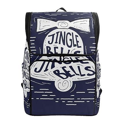 a78cffbdff03 Amazon.com: Backpack for Women Men Teen Girl Boy Christmas Bell Blue ...