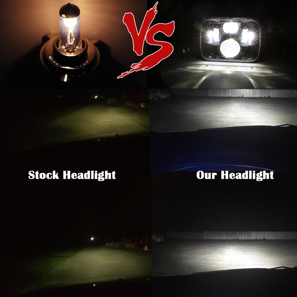 5x7 DOT 7x6 inch LED Headlights Headlamps Bulbs Light Set Kit for GMC Chevy Express Blazer S10 S15 Jeep Cherokee XJ Wrangler YJ MJ Toyota Corolla Tacoma Ford F350 Pickup Corvette Dodge Truck Van Black