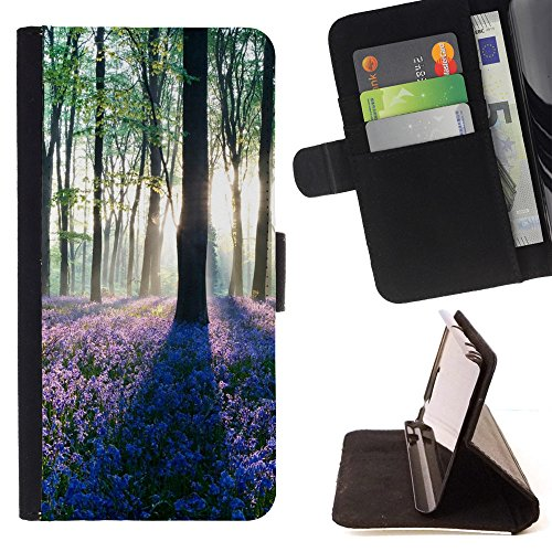 God Garden - FOR Apple Iphone 4 / 4S - Dawn In Forest - Glitter Teal Purple Sparkling Watercolor Personalized Design Custom Style PU Leather Case Wallet Fli