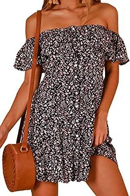 Walant Women Summer Boho Off Shoulder Long Maxi Casual Dresses Slit Split