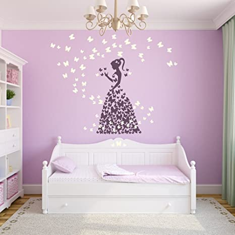 Wandtattoo Schmetterling Mädchen Märchenland Mädchenwelt Kinderzimmer  Wanddekoration Design ca. 59 x 100 cm violett