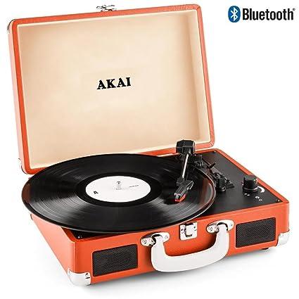 Bakaji Tocadiscos a maletín Vintage compacto reproductor de tocadiscos retro Nostalgico portátil 33 – 45 –