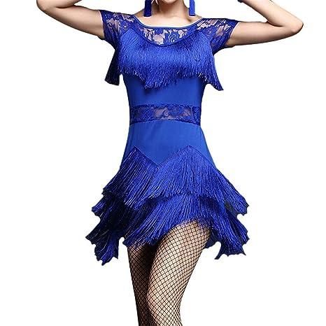Vestidos de baile latino para mujer Las mujeres de flecos borlas ...