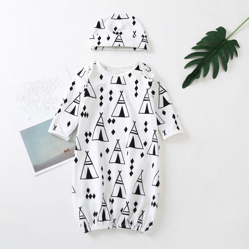 Oldeagle Newborn Infant Baby Girls Boy Triangle Sleeping Bag Swaddle Cap 2Pcs Outfits