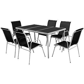 Festnight Conjunto de Mesa y Sillas de Jardin Muebles de Comedor 7 Piezas Negro
