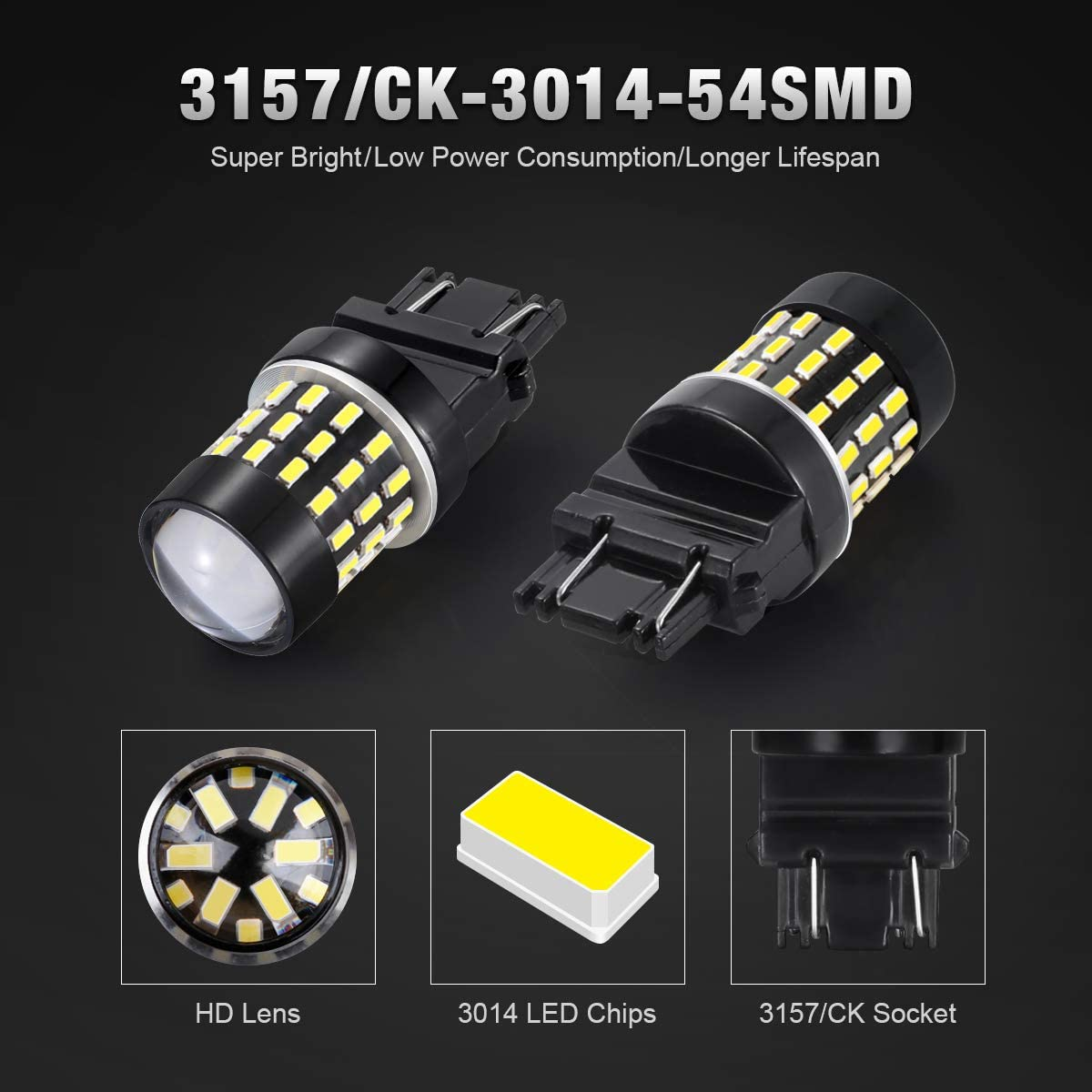 4x 3157SRCK Socket 2835 Chip White Brake//Backup//Tail//Turn Signal LED Light Bulbs