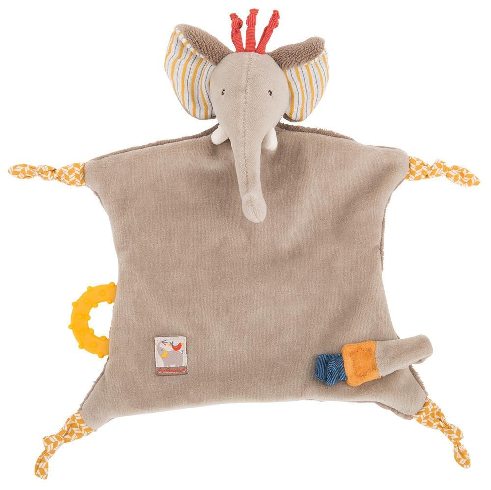 Moulin Roty Les Papoum Elephant Pacifier Comforter Lovey Security Blanket