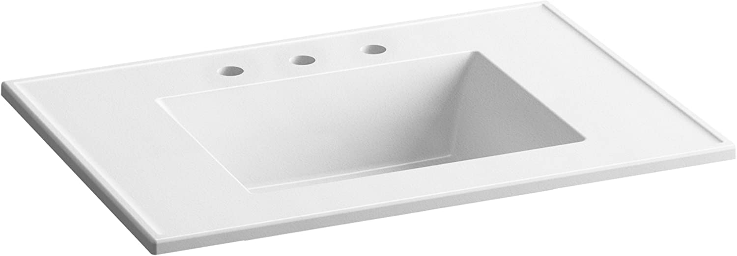 Kohler K 2779 8 G81 Ceramic Impressions 31 In Rectangular Vanity Top Bathroom Sink With 8 In Widespread Faucet Holes White Impressions Amazon Com