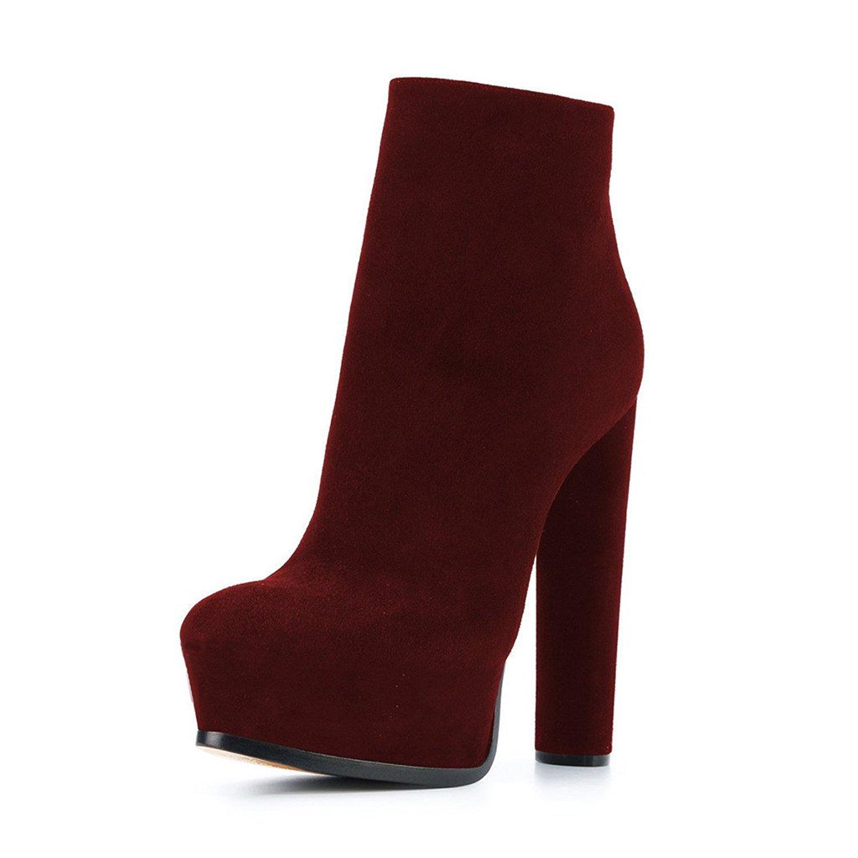 BRAND NEW LADIES BLOCK HEEL SLIP ON BACK ZIPPER ANKLE PLATFORM POINT TOE  BOOTS