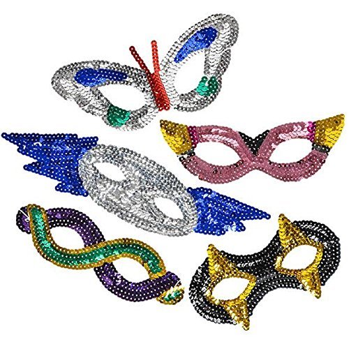 - 1 DOZEN, ASSORTED SEQUIN MASKS, Dynamic designs for master level masquerading. This collection of sequined half masks features a vivid variety of colors and designs. For ages 5+