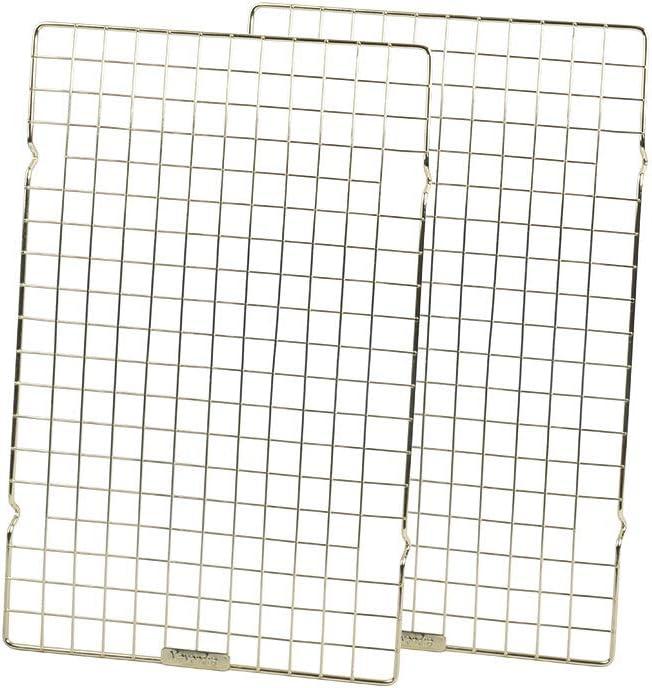 "Baking Rack Commercial Grade cooling racks for baking Thick-Wire wire rack bakin 10""×16""Golden-Set of 2ges Nontoxic for Roastinges baking rack for oven Safe wire coolings rack Roasting Drying"