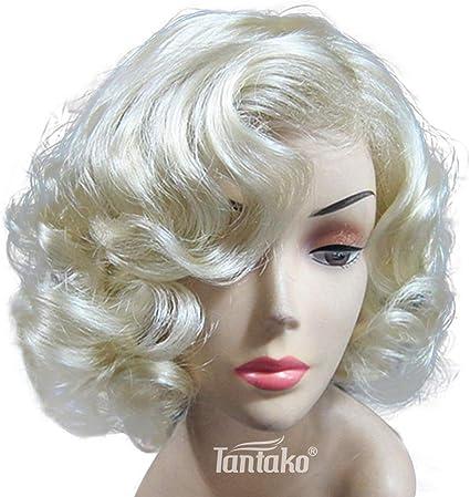 TANTAKO® Peluca Marilyn Monroe Rubio Claro Corta - Peluca ...