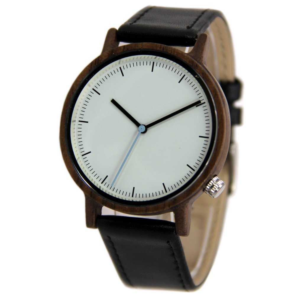 Unisex Big Dial Walnut Wood Watches with Genuine Leather Strap Gift Wristwatch
