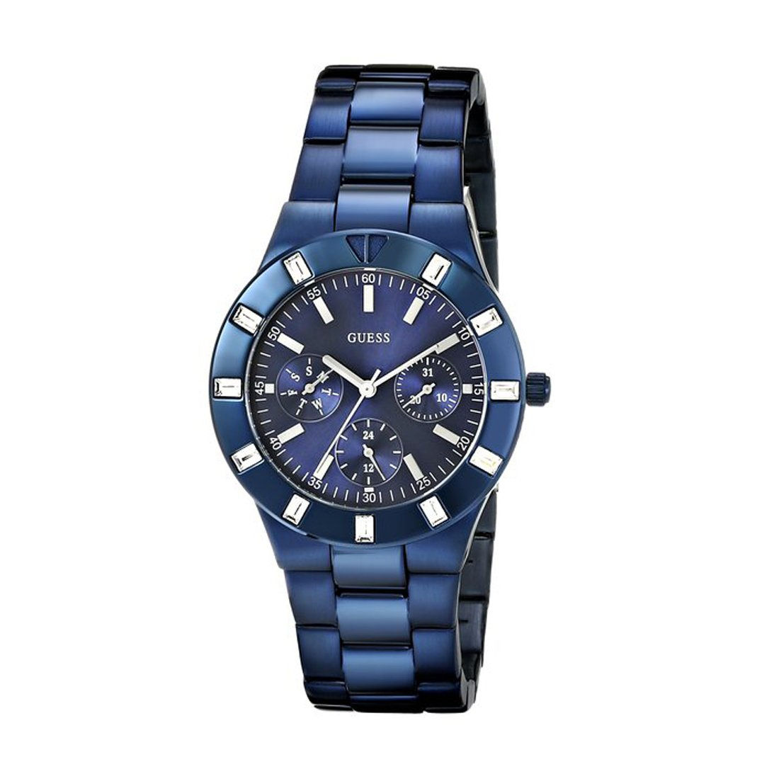 f318be209933 Buy GUESS Glisten Stainless Steel Analogue Blue Dial Women s Bracelet Watch  Online at Low Prices in India - Amazon.in