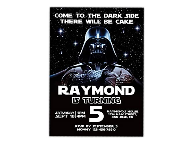Custom Star Wars Darth Vader Birthday Party Invitations For Kids 10pc 60pc 4x6 Or 5x7 Cards With White Envelopes Printed On Premium 265gsm