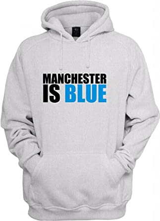5841ca3ae35b Manchester is BLUE Printed Logo Hooded Sweatshirt at Amazon Men s Clothing  store