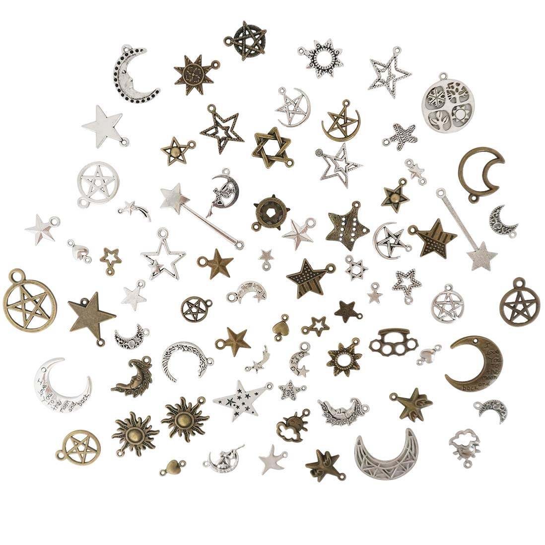 Misscrafts Mixed Moon Sun Stars Pendants, Celestial Charms, Bulk Pagan Wicca Wiccan Charms, Bracelet Charms, UK Jewelry Making Supplies