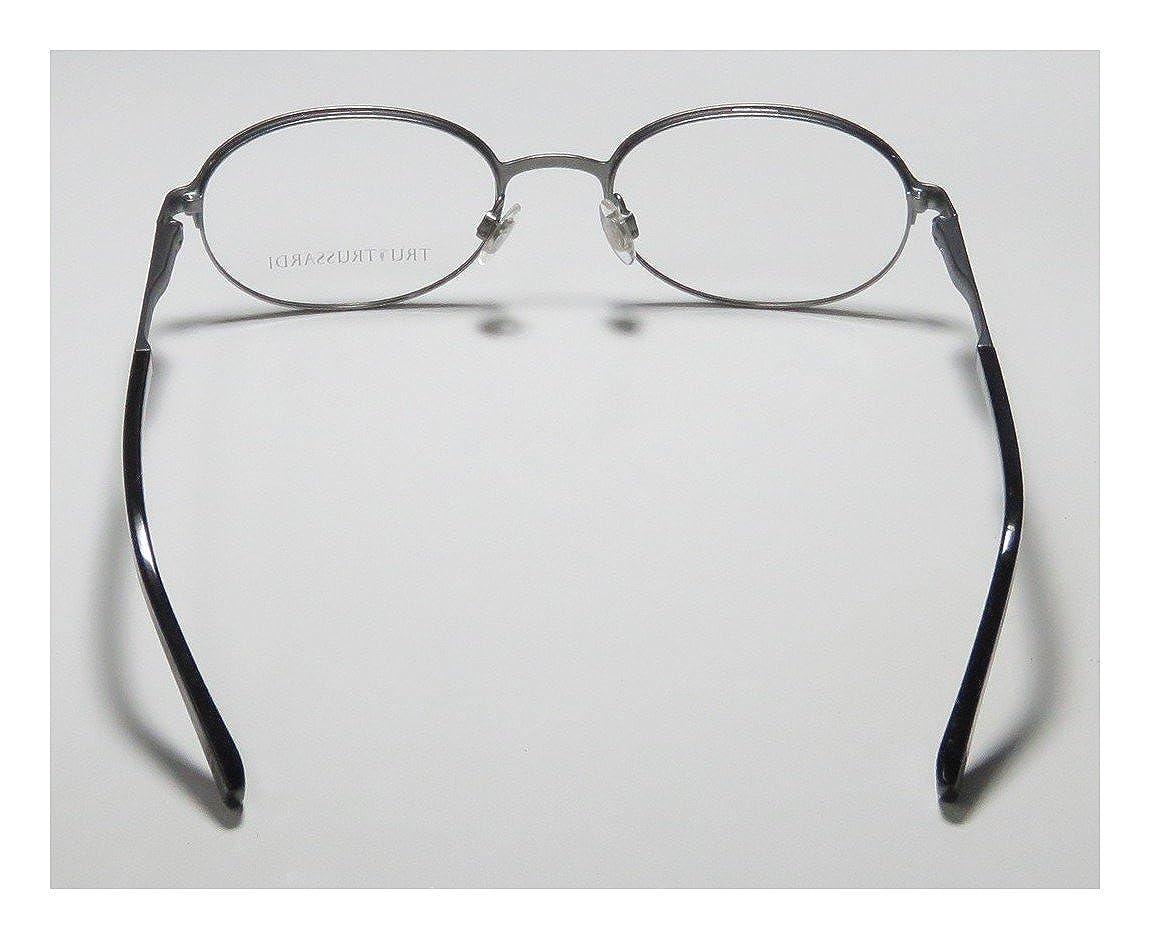 bd6b7f6b67f Amazon.com  Trussardi 12730 Mens Womens Oval Full-Rim Shape Flexible Hinges  Faux Leather Inserts Classy Eyeglasses Eyeglass Frame (50-19-140