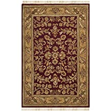 Safavieh Heritage Collection HG170A-3 Hand-Spun Wool Area Rug, 3x5-Feet, Red and Gold