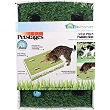 Petstages 708 Grass Patch Hunting Box Fun Cat Game with Jingle Balls