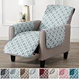 Modern Printed Reversible Stain Resistant Furniture Protector with Geometric Design. Perfect Cover for Pets and Kids. Adjustable Elastic Straps Included. Liliana Collection (Recliner, Sea Blue Green)