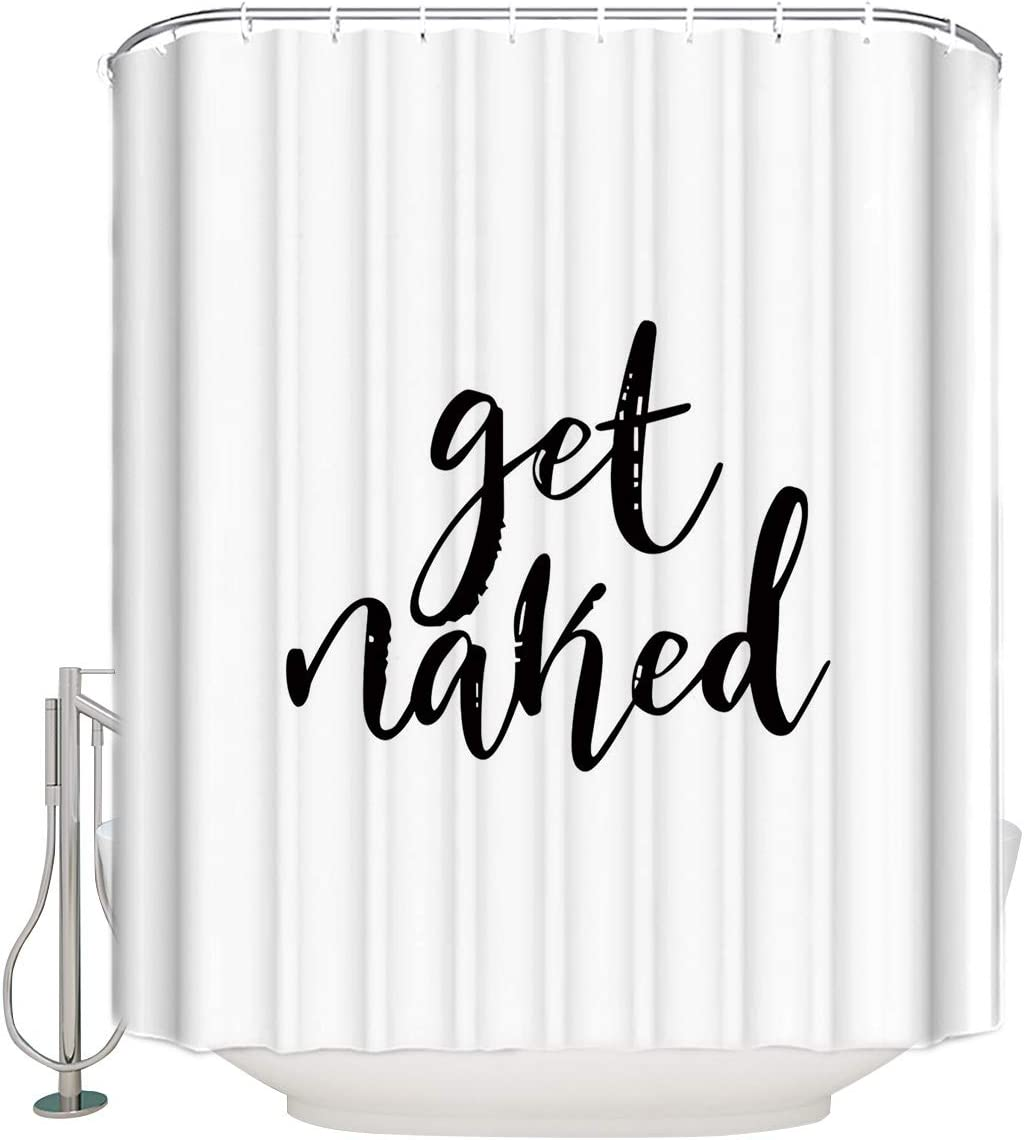 "Vandarllin Shower Curtain - Get Naked Black Stripe Bathroom Decor - White with Hooks 54""X78"""
