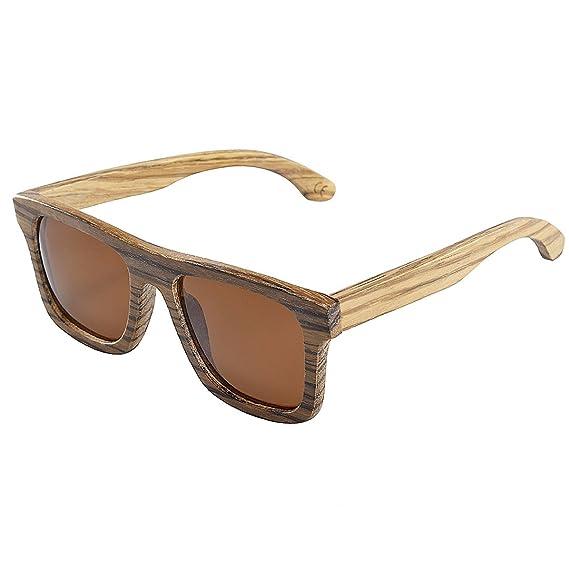 779e487b8739bf BEWELL Rectangulaire Lunettes de Soleil Bois Polarisées, G004A Sports  Lunettes Vintage Retro Mixte Wooden Sunglasses