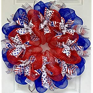 Patriotic Wreath Three Cheers For The Red White and Blue Handmade Deco Mesh 24 inch and 27 inch 69