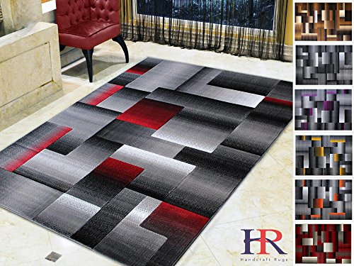 Handcraft Rugs Red Lava/Silver/Gray Abstract Geometric Modern Squares Pattern Area Rug 8 ft. by 10 - Silver Red Black