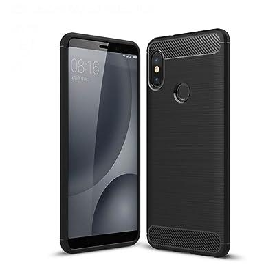 Coque Xiaomi Mi 6x,Vicstar Noir Luxe Silicone Case Ultra Fine Fibre de Carbone Case Shock-Absorption Anti-Scratch Housse Etui Parfait Design pour Xiaomi Mi 6x