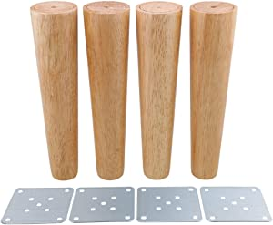 10inch Furniture Legs Wood Color Tapered for Cabinets Legs Sofa Feet Pack of 4