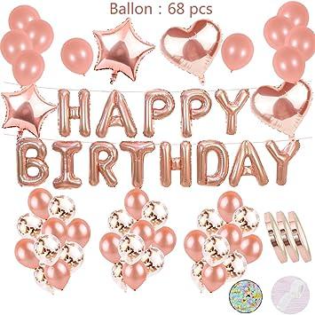 cholinchin Deco De Cumpleaños con Oro Rosa para Niñas:Letras De Helio Globos Happy Birthday Girland y36Balloons y15Confetti Latex y 4Star Heart ...
